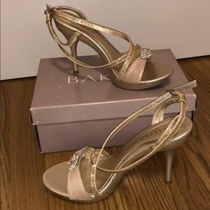 Beige and gold high heels
